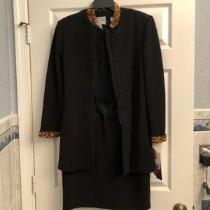 Vintage Karin Stevens Black Womens Coat Dress